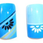 airbrush nail art stencil 2 blue half flower